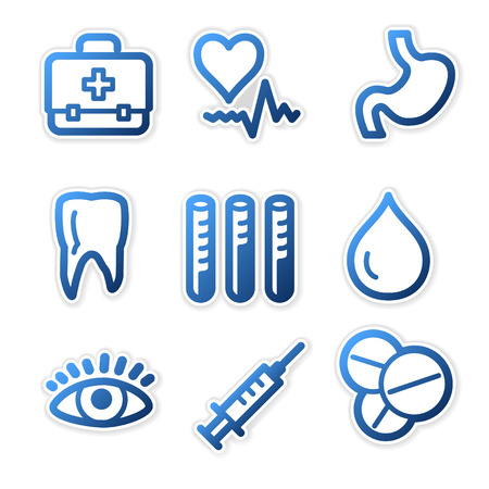 Medicine icons, blue contour series Stock Vector - 3754650
