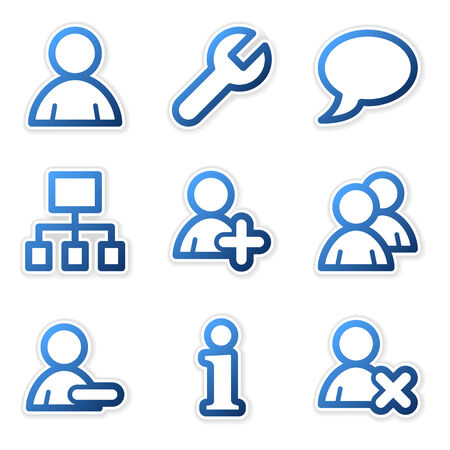 Users icons, blue contour series Vector