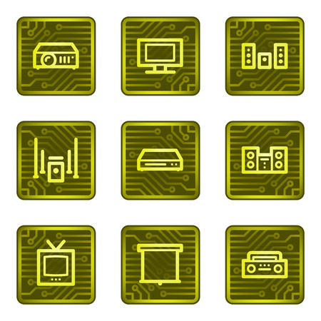 Audio video web icons, electronics card series Vector