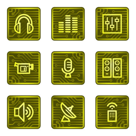 Media web icons, electronics card series Vector