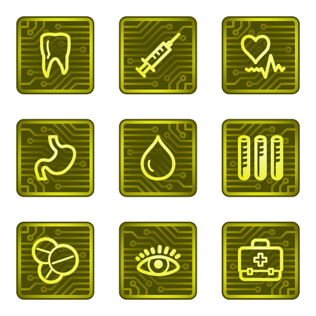 Medicine web icons, electronics card series Vector