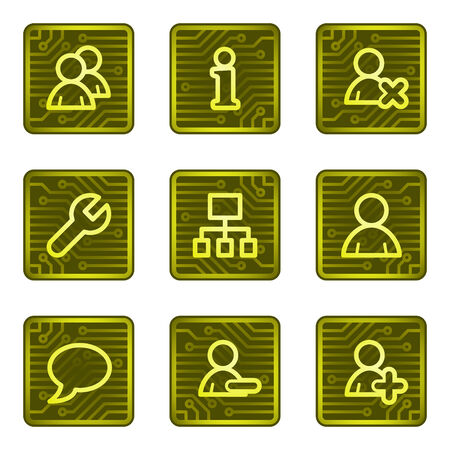 Users web icons, electronics card series Vector