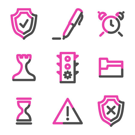 Administration web icons, pink contour series Stock Vector - 3754468