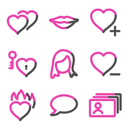 Dating web icons, pink contour series Stock Vector - 3754437