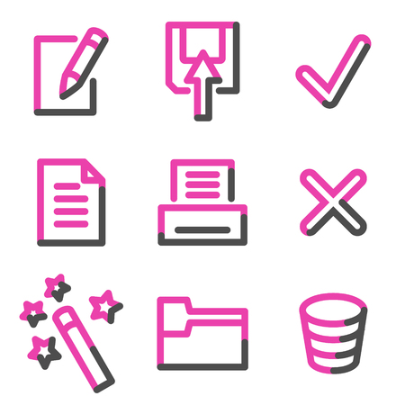 Document 2 web icons, pink contour series Stock Vector - 3754469