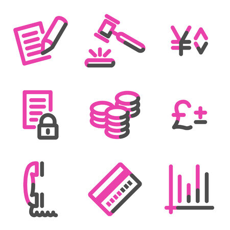 E-business web icons, pink contour series Stock Vector - 3754470