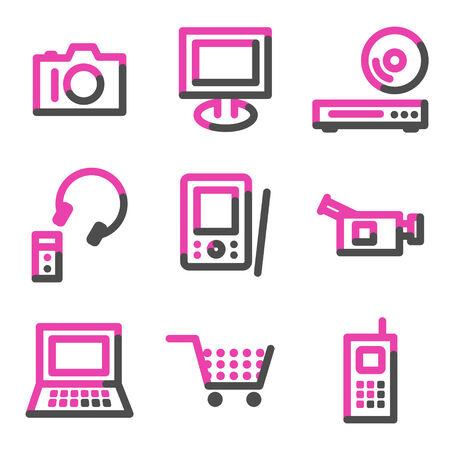 Electronics web icons, pink contour series Stock Vector - 3754472