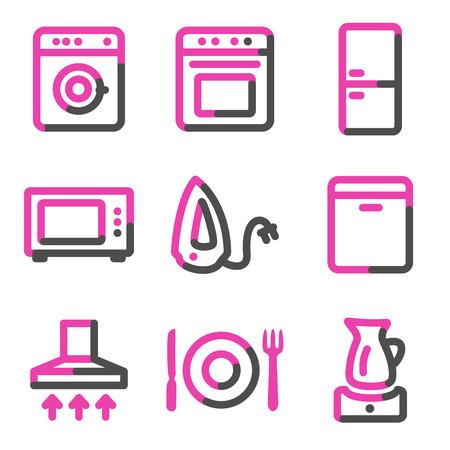 Home appliances web icons, pink contour series Stock Vector - 3754467