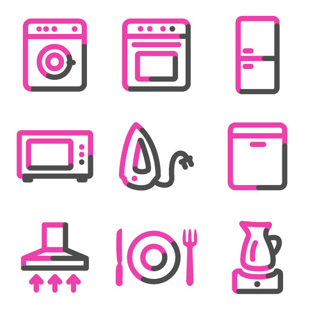 microwave ovens: Home appliances web icons, pink contour series Illustration
