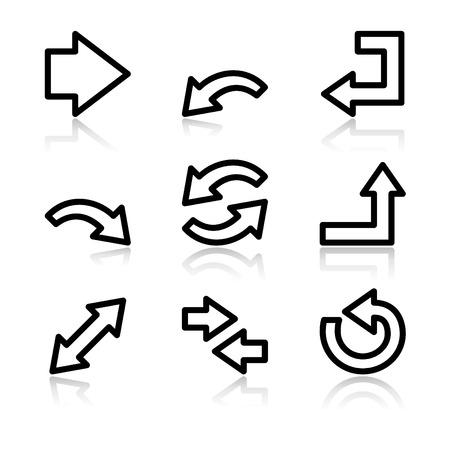flechas: Contorno negro iconos de flechas web V2