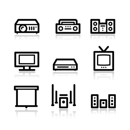 Audio video black contour web icons V2 Vector
