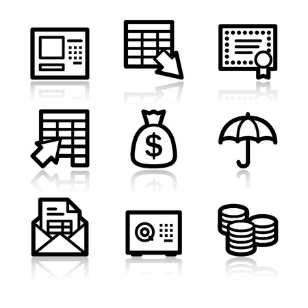 Banking black contour web icons V2 Vector