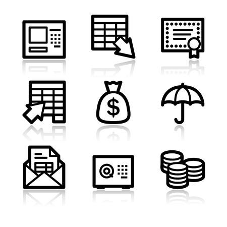 Banking black contour web icons V2