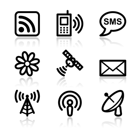 Internet communication black contour web icons V2 Stock Vector - 3754885