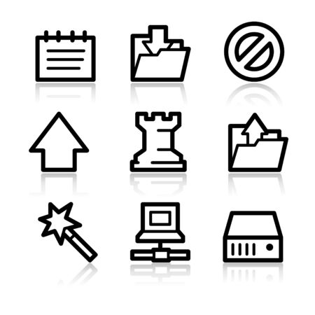 Data black contour web icons V2 Vector