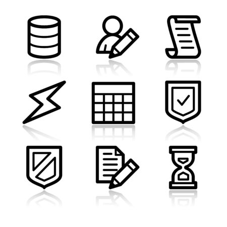 Database black contour web icons V2 Vector