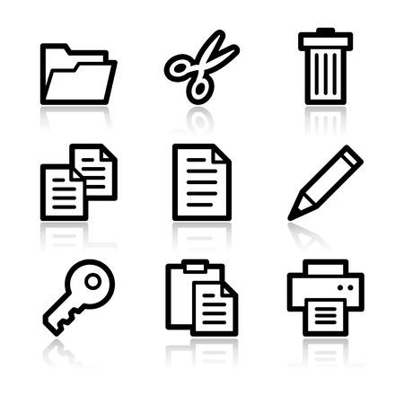 Documento contorno negro iconos web V2