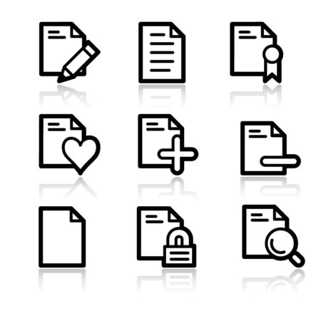 Dokumente schwarze Kontur web icons V2