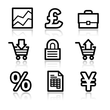 E-business black contour web icons V2 Vector