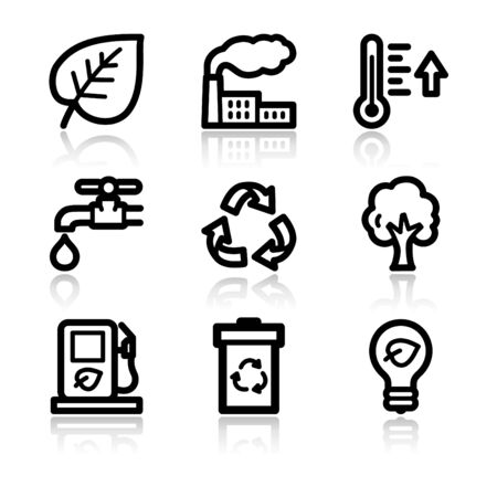 Ecology black contour web icons V2 Illustration