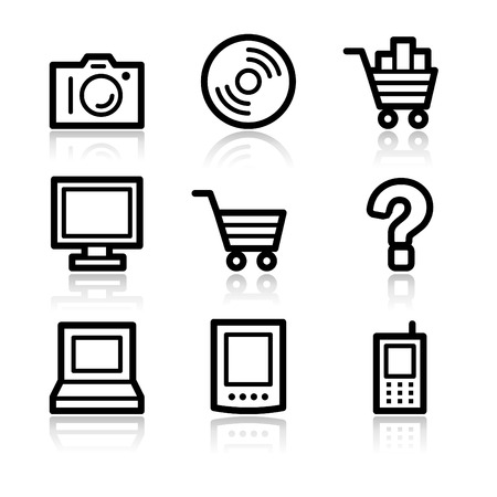 Electronics black contour web icons V2
