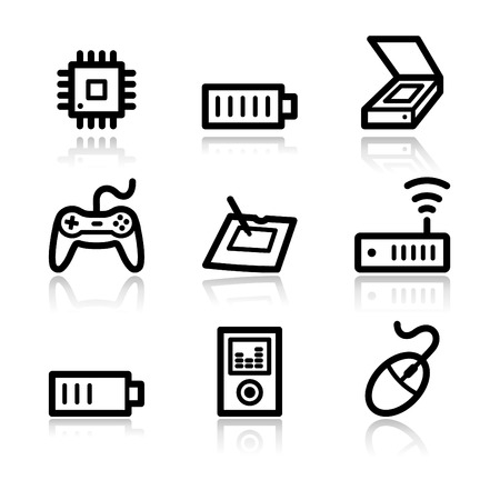 Electronics black contour web icons V2 set 2 Vector
