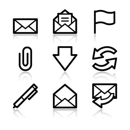 adjuntar: E-mail contorno negro iconos web V2