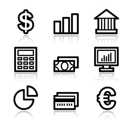 Stock Vector: Finance black contour web icons V2