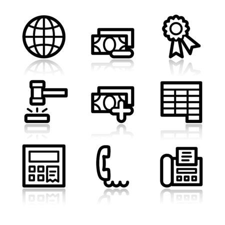 Finance black contour web icons V2 set 2