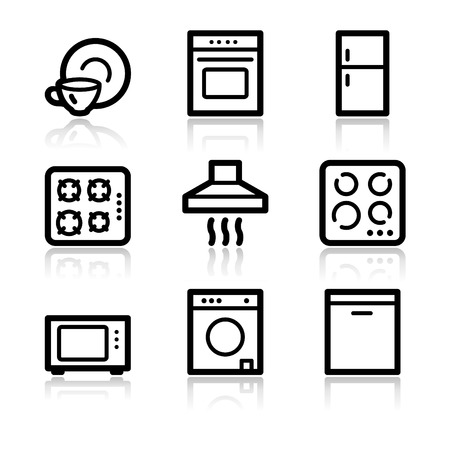 black appliances: Home appliances black contour web icons V2 Illustration