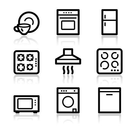 Home appliances black contour web icons V2 Vektoros illusztráció