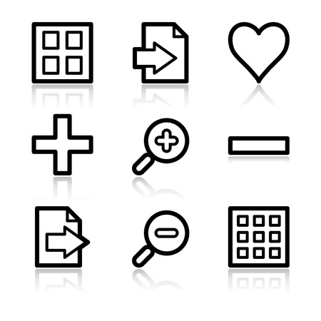 Image viewer black contour web icons V2 Vector