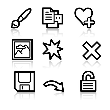 Image viewer black contour web icons V2 set 2 Vector