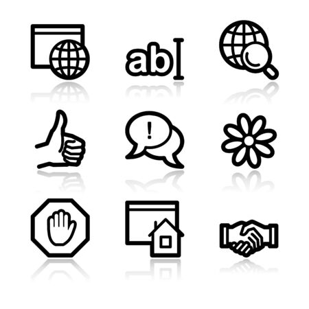 Internet communication black contour web icons V2 Vector