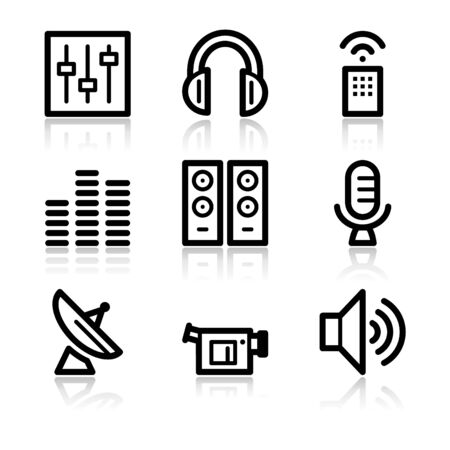 Media black contour web icons V2 Vector