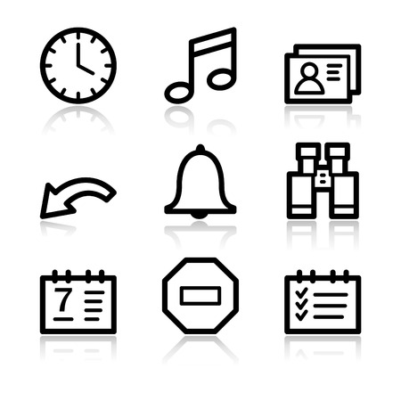 Organizer black contour web icons V2 Stock Vector - 3754821