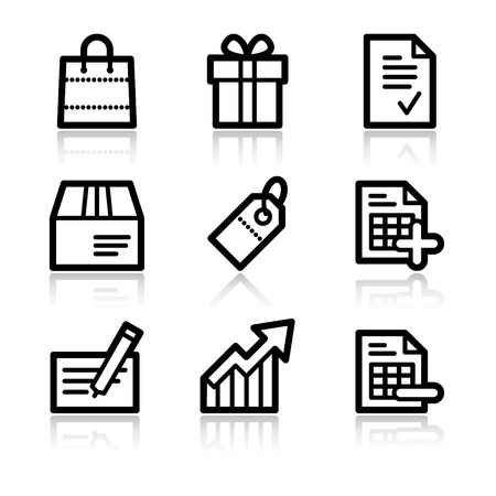 Shopping black contour web icons V2 Vector