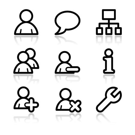 Users black contour web icons V2
