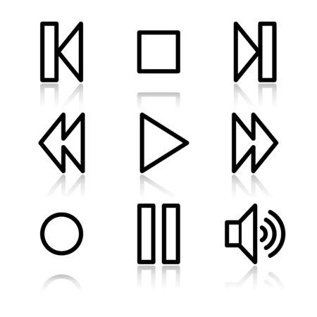 Walkman black contour web icons V2 Vector