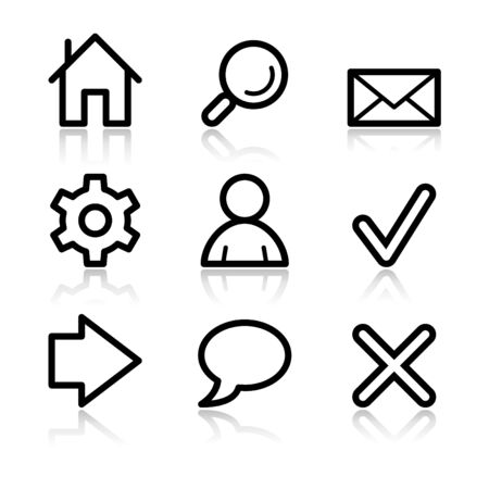Basic web black contour icons V2 Vector