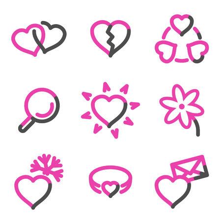 Love web icons, pink contour series Illustration