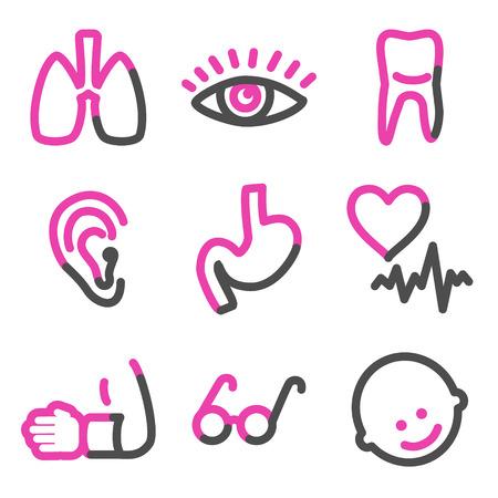 Medicine 2 web icons, pink contour series Stock Vector - 3754814