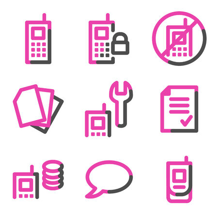 Mobile phone 2 web icons, pink contour series Stock Vector - 3754812