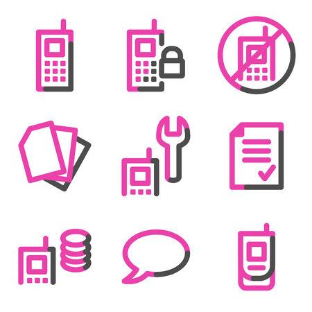 prepaid: Mobile phone 2 web icons, pink contour series