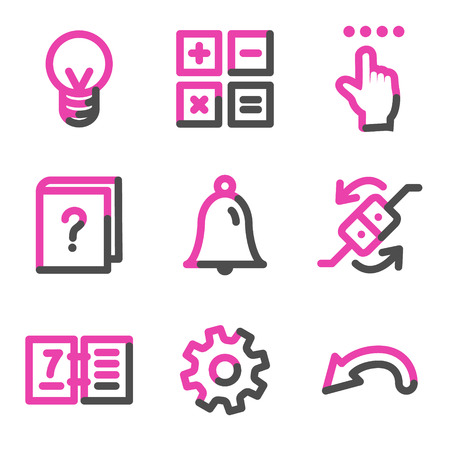 calc: Organizer web icons, pink contour series Illustration