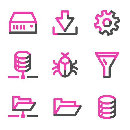 Server web icons, pink contour series Stock Vector - 3754803