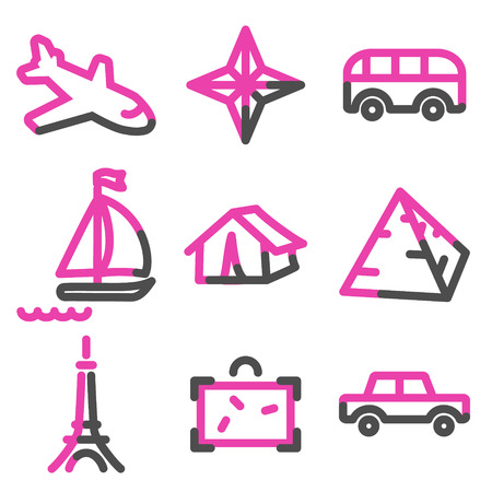 Travel 2 web icons, pink contour series Vector