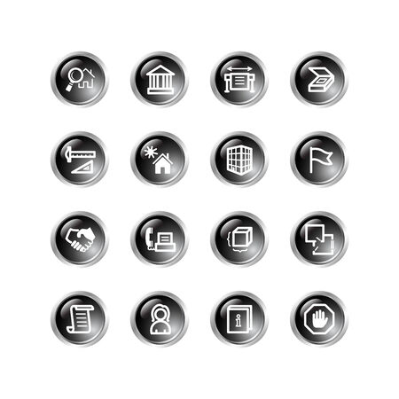 black drop building icons Stock Vector - 3792691