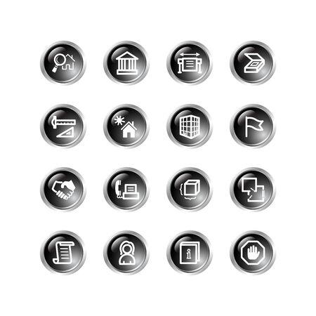 black drop building icons Stock Vector - 3792691