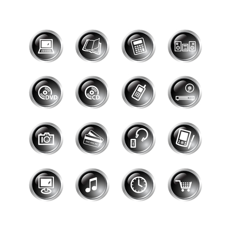 black drop electronics icons Stock Vector - 3792702